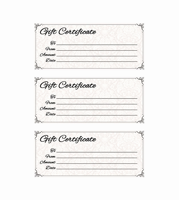 Template for Gift Certificate Elegant Classic Antique Gift Certificate
