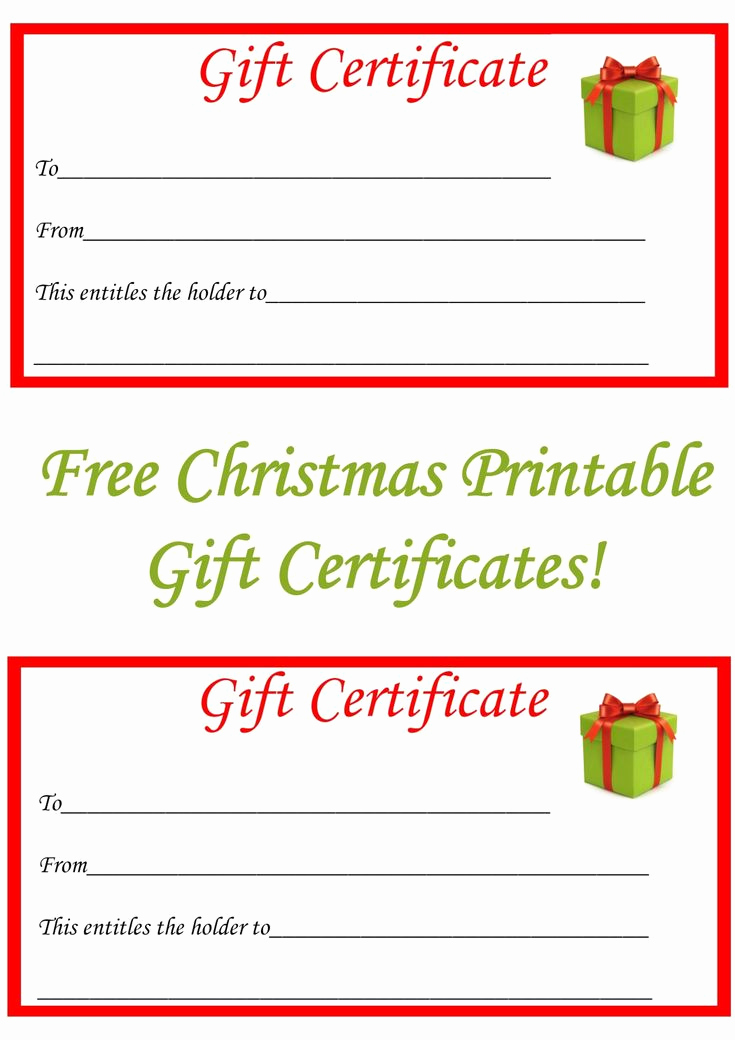 Template for Gift Certificate Elegant Free Christmas Printable Gift Certificates