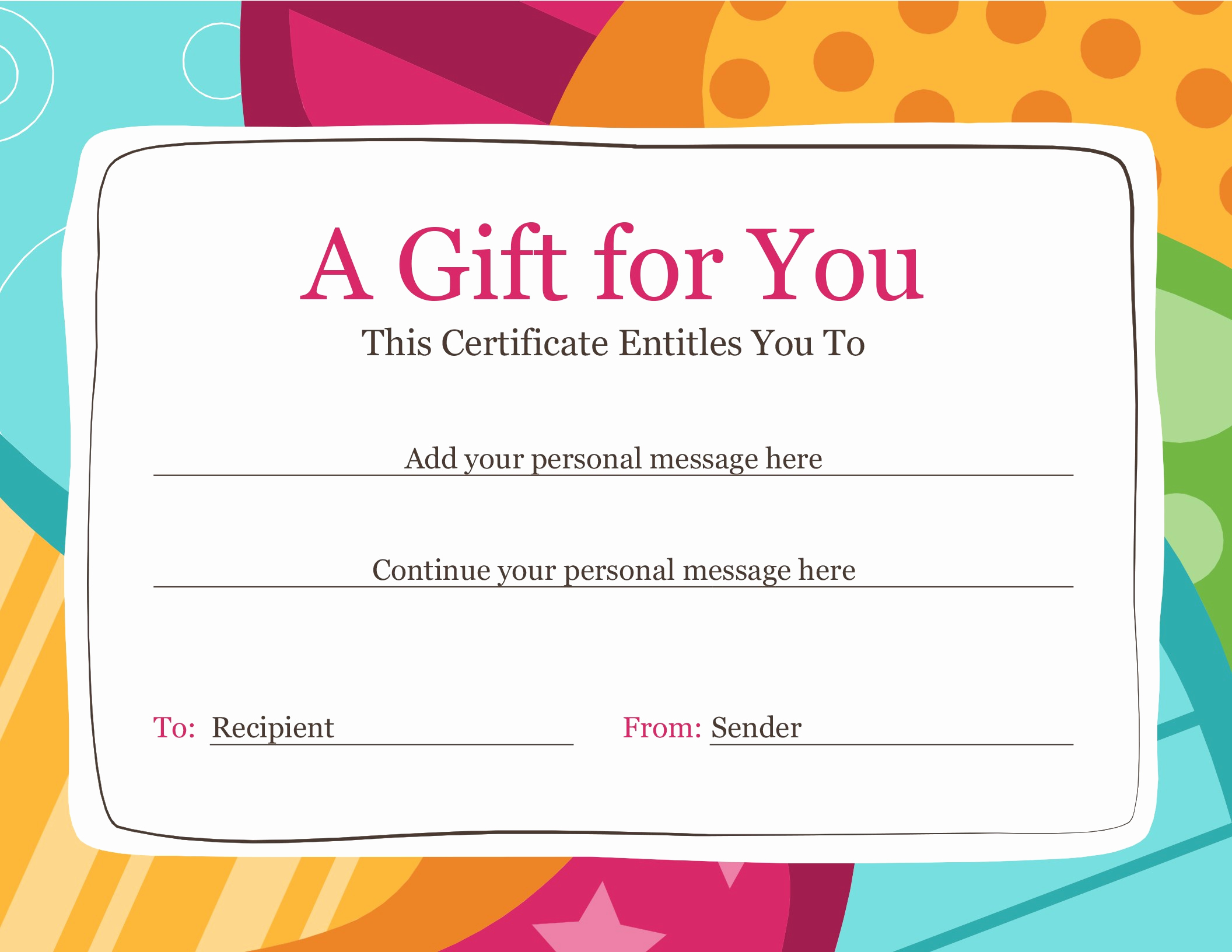 Template for Gift Certificate Fresh Certificates Fice