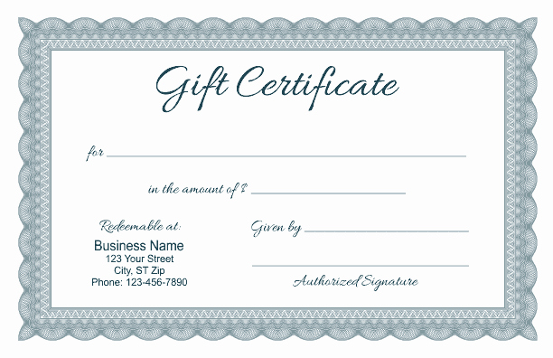 Template for Gift Certificate Fresh formal Gift Certificate Templates
