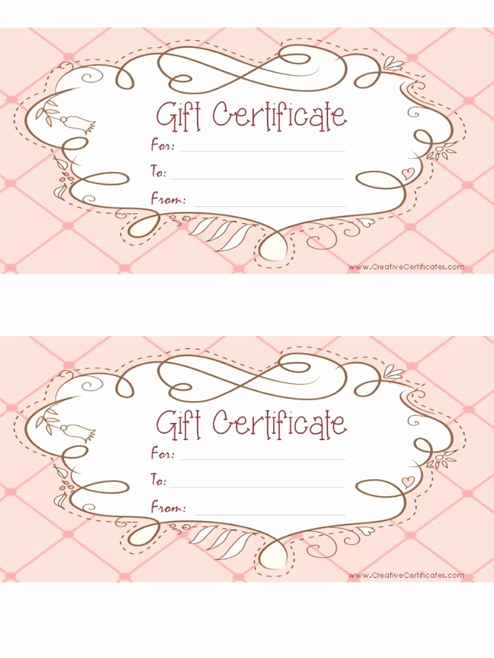 Template for Gift Certificate Fresh Free Printable Pink T Certificate with A Brown Drawing