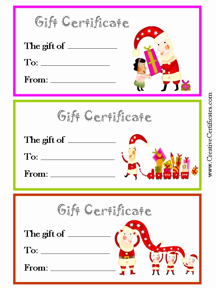 Template for Gift Certificate Unique 3 Printable Christmas T Certificate Templates On One