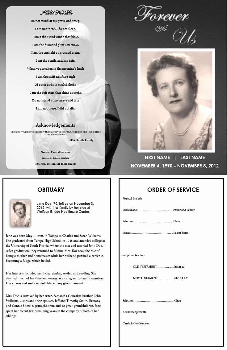 Template for Memorial Service Awesome 1000 Images About Printable Funeral Program Templates On