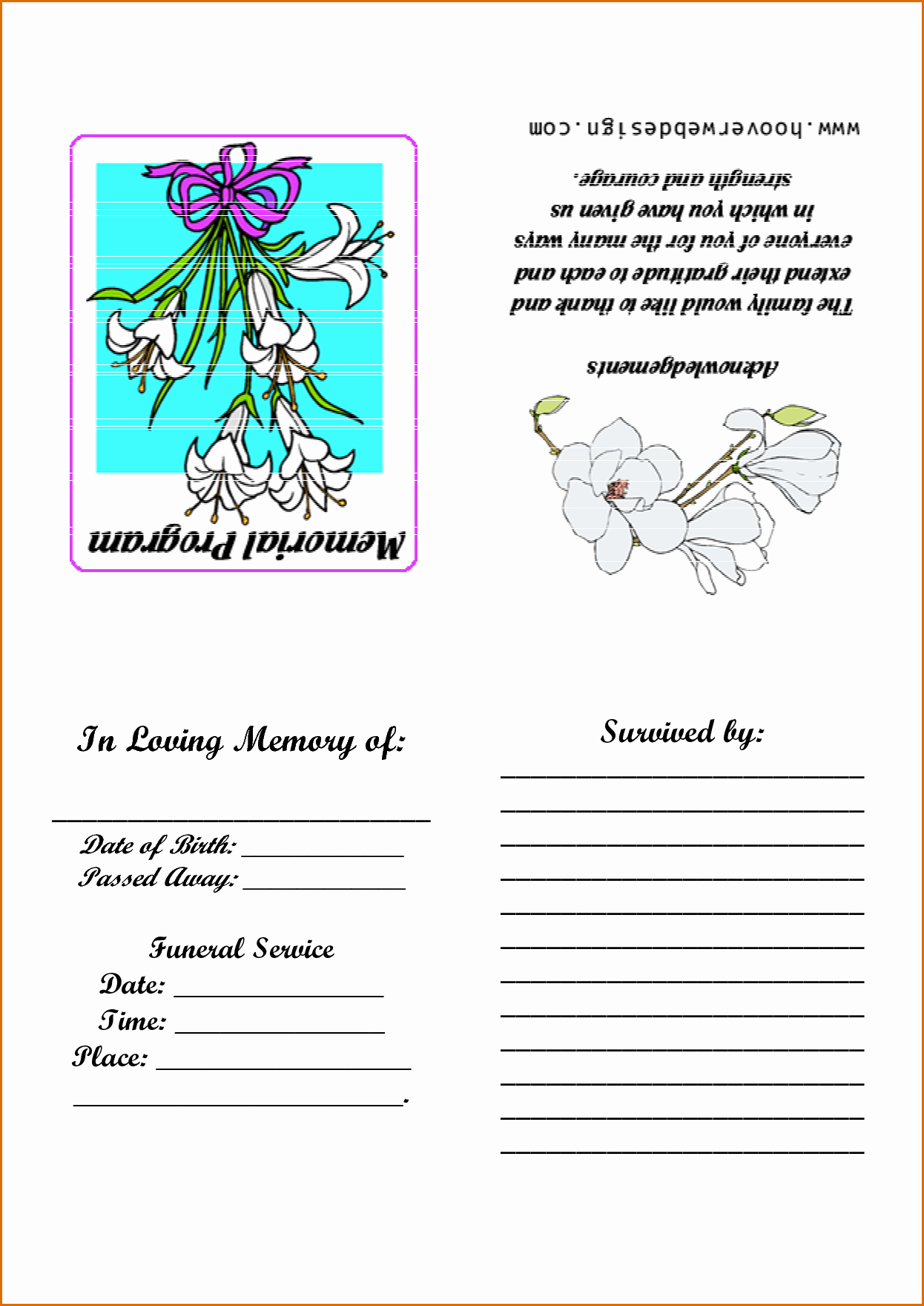 Template for Memorial Service Awesome 9 Memorial Service Program Template