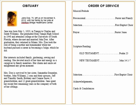Template for Memorial Service Awesome Memorial Bulletins for Funerals