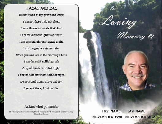 Template for Memorial Service Best Of Memorial order Of Service Program Template Waterfall