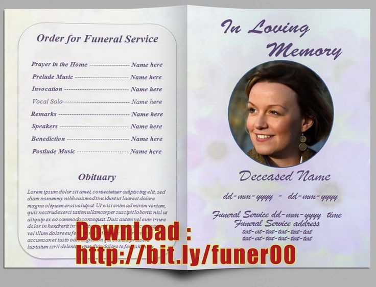 Template for Memorial Service Best Of Pin by Free Funeral Program Template On Free Memorial