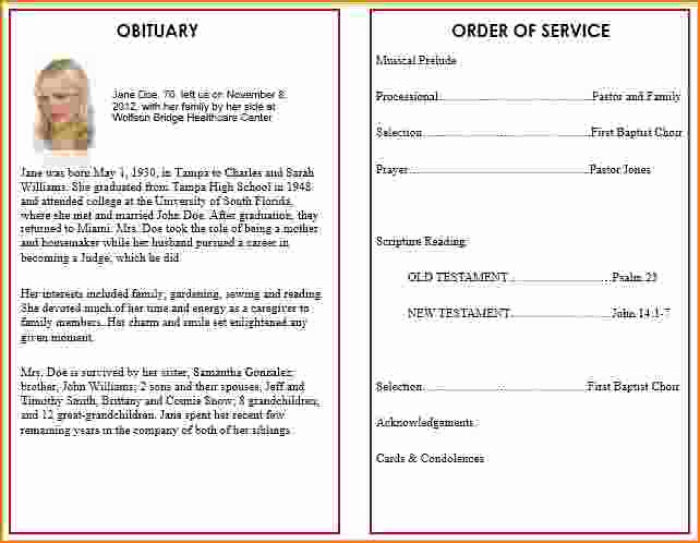 Template for Memorial Service Elegant 4 Funeral Program Template Word
