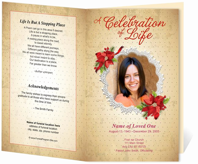 Template for Memorial Service Elegant Floral theme Carol Preprinted Title Letter Single Fold