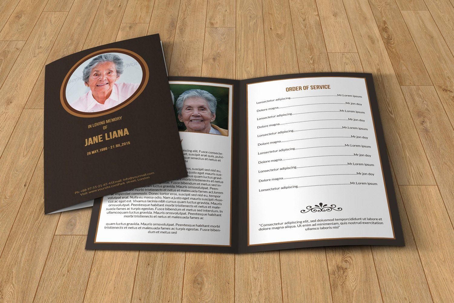 Template for Memorial Service Elegant Funeral Program Template T130 Brochure Templates