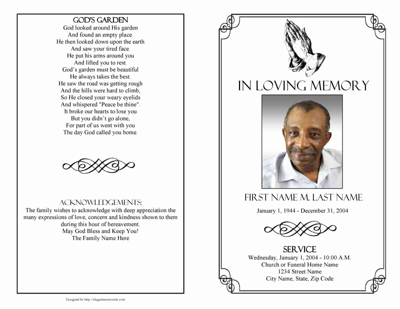 Template for Memorial Service Elegant Praying Hands Funeral Program Template Elegant Memorials