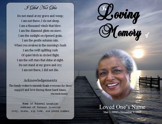 Template for Memorial Service Fresh Funeral Card Templates Free S