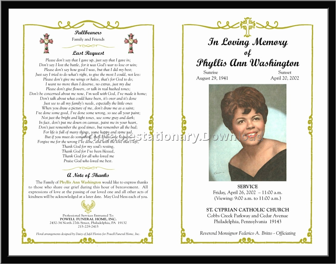 Template for Memorial Service Inspirational Download Free Funeral Program Template