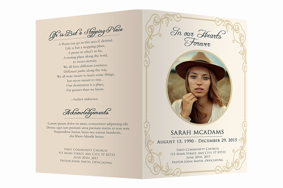 Template for Memorial Service Inspirational Funeral Program Template Brochure Templates Creative