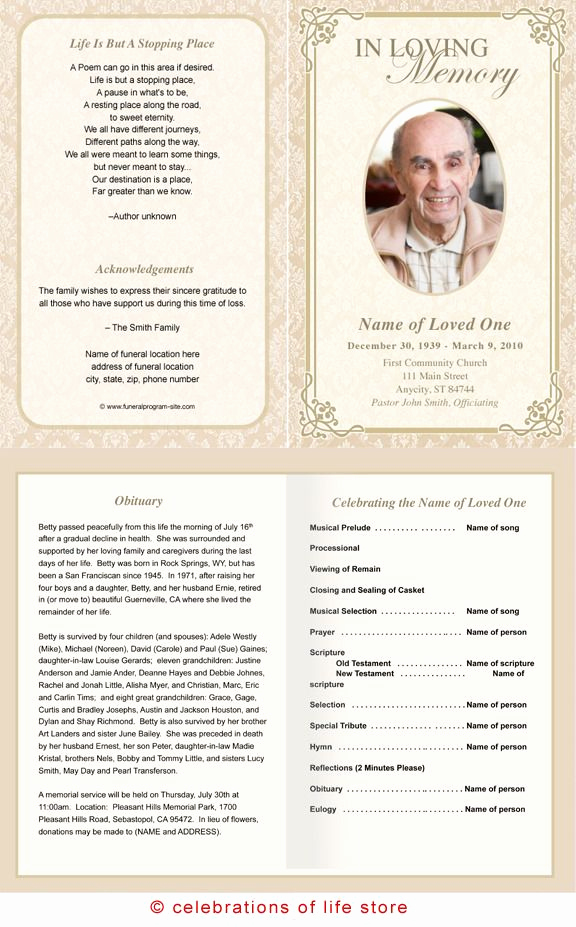 Template for Memorial Service Lovely Alexandria Printable Funeral Program Template
