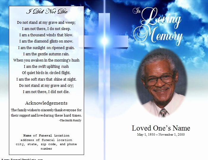 Template for Memorial Service Lovely Single Fold Cross Memorial Program
