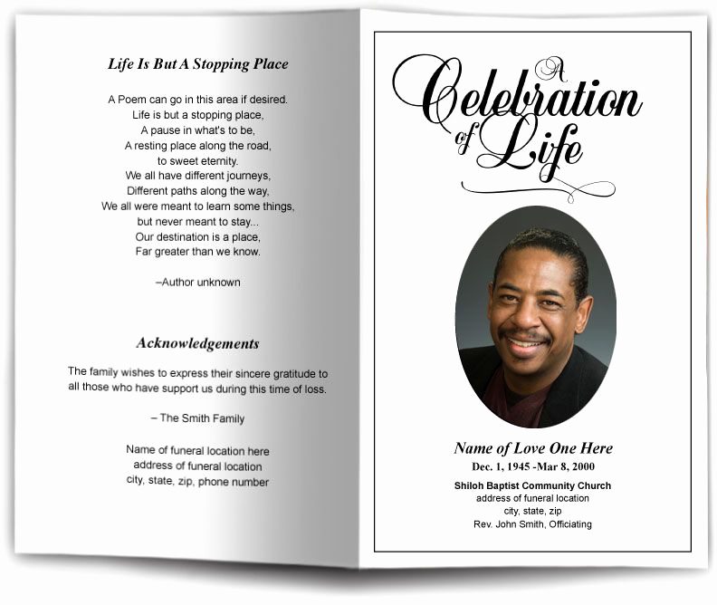 Template for Memorial Service Luxury Funeral Program Obituary Templates