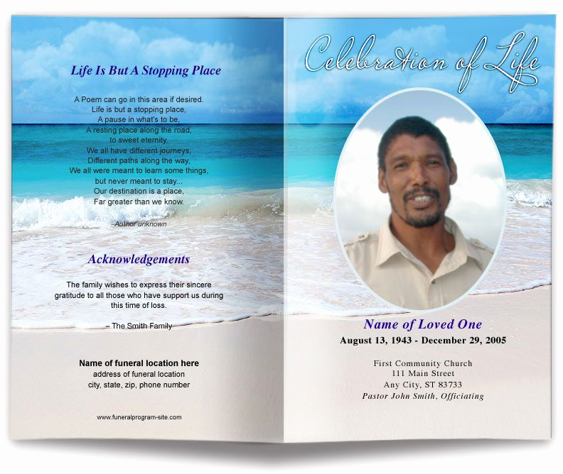 Template for Memorial Service New Free Editable Funeral Program Template