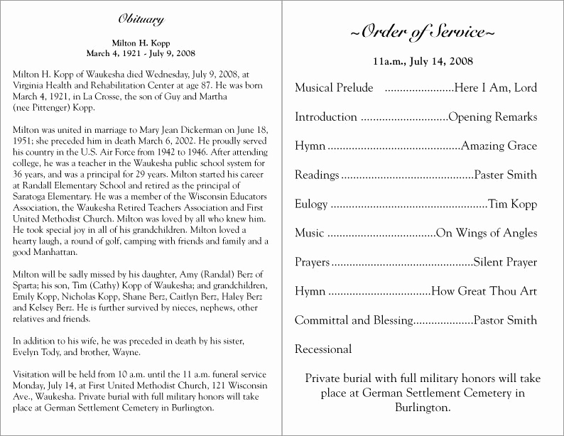 Template for Memorial Service Unique Free Printable Funeral Programs