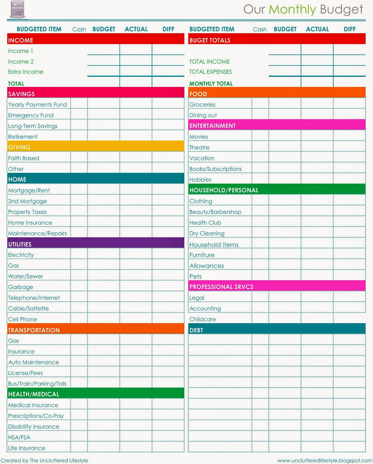 Template for Monthly Budget Unique 2015 Planner More Free Printables Find Lifestyle