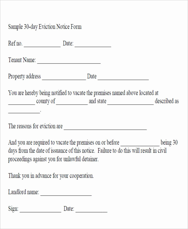 Tenant Eviction Notice Template Elegant Free 23 Eviction Notices In Pdf