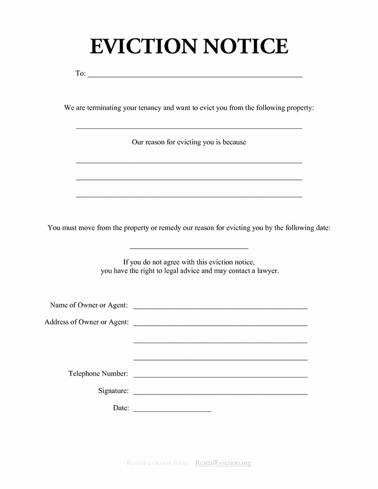 Tenant Eviction Notice Template Fresh Printable Sample Eviction Notices form