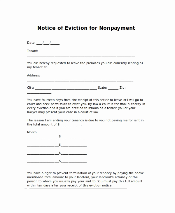 Tenant Eviction Notice Template Lovely Eviction Letters 10 Free Pdf Word Documents Download