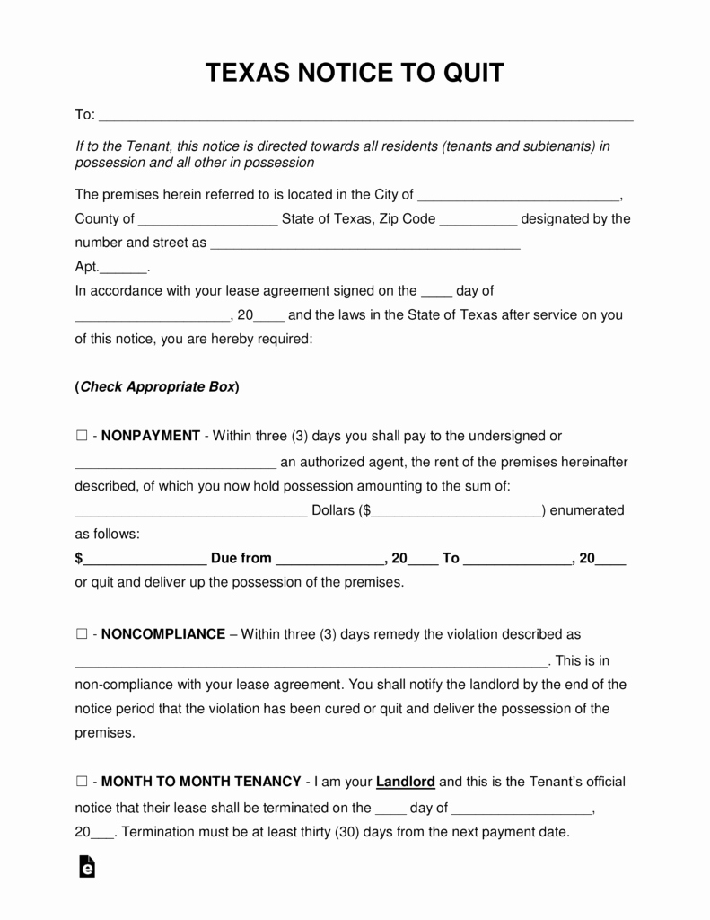 Tenant Eviction Notice Template Luxury Free Texas Eviction Notice forms