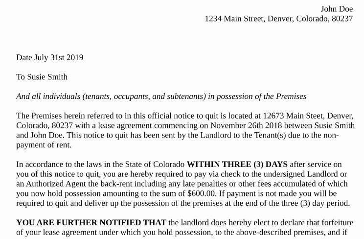 Tenant Eviction Notice Template Unique Free Tenant Eviction Notice or Notice to Quit form