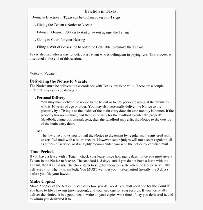 Texas Eviction Notice Template Best Of Eviction Notice 24 Sample Letters & Templates