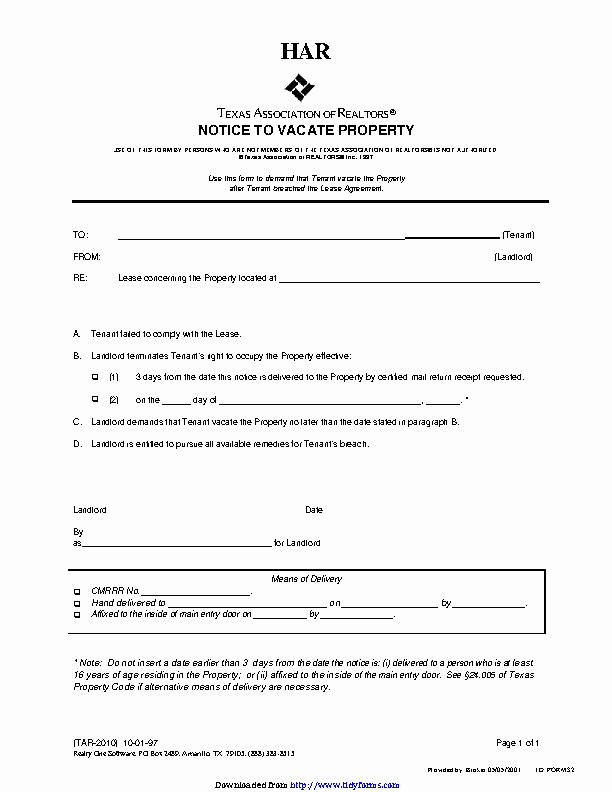 Texas Eviction Notice Template Lovely Texas Eviction Notice Template Pdfsimpli