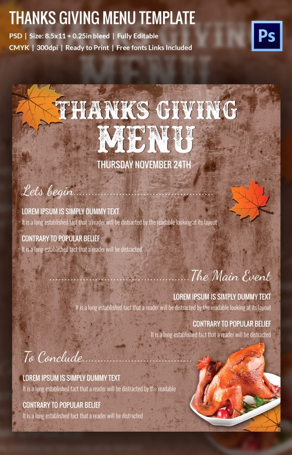 Thanksgiving Day Menu Template Awesome 25 Thanksgiving Menu Templates Free Sample Example