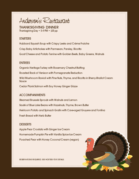 Thanksgiving Day Menu Template Awesome Family Thanksgiving Menu
