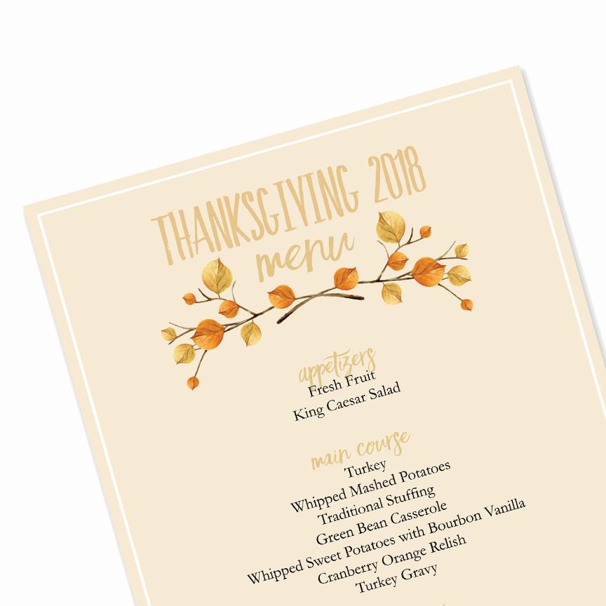 Thanksgiving Day Menu Template Beautiful Editable Thanksgiving Menu Ama Vita Designs