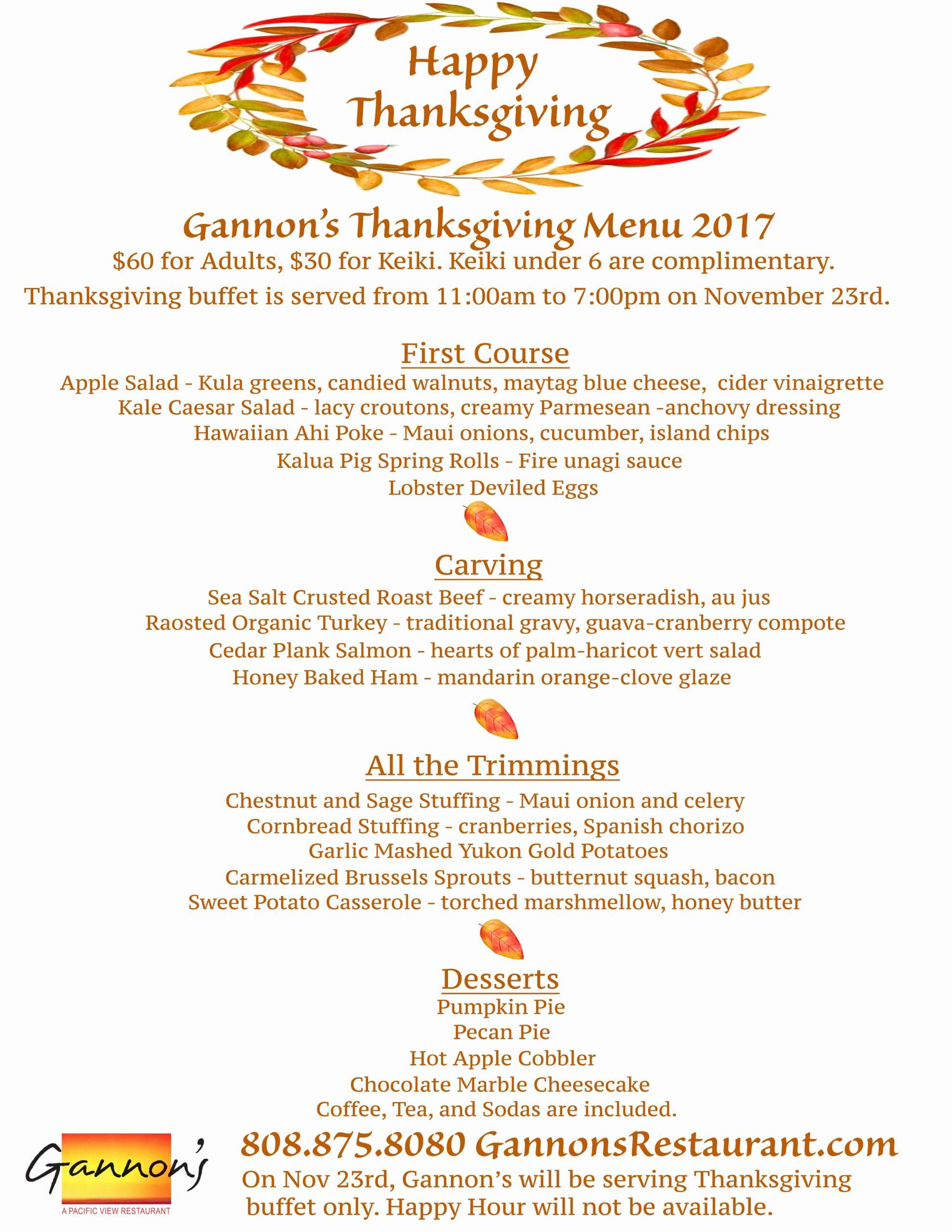 Thanksgiving Day Menu Template Best Of Gannon S Restaurant Announces Thanksgiving Day Buffet Menu