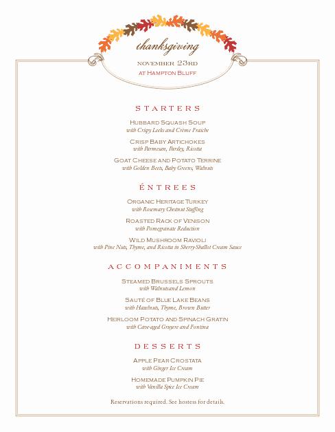 Thanksgiving Day Menu Template Best Of Restaurant Thanksgiving Menu