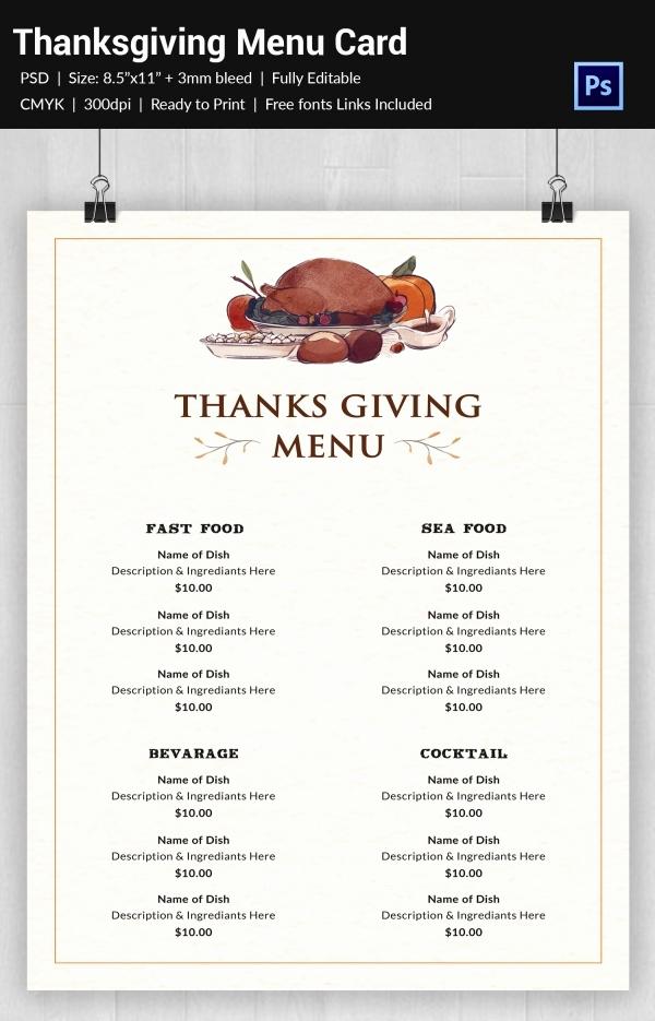 Thanksgiving Day Menu Template Elegant 25 Thanksgiving Menu Templates Free Sample Example