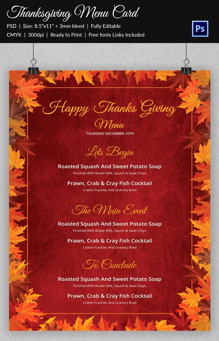 Thanksgiving Day Menu Template Fresh 45 Thanksgiving Designs Free Printable Psd Ai