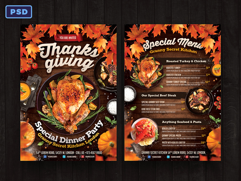 Thanksgiving Day Menu Template Fresh Thanksgiving Dinner Flyer Menu Template by Bornx On Dribbble