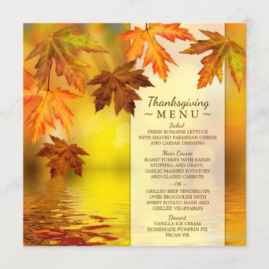 Thanksgiving Day Menu Template Inspirational Thanksgiving Dinner Menu Template with Fall Leaves