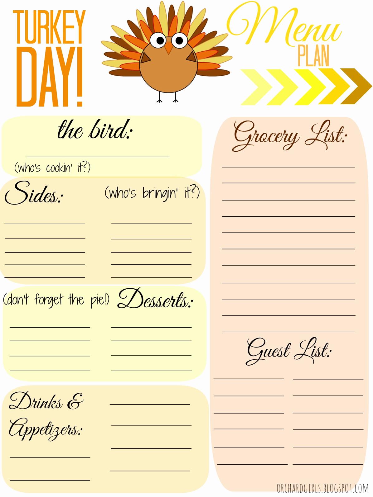 Thanksgiving Day Menu Template Lovely orchard Girls Free Thankgiving Day Menu Plan Printable