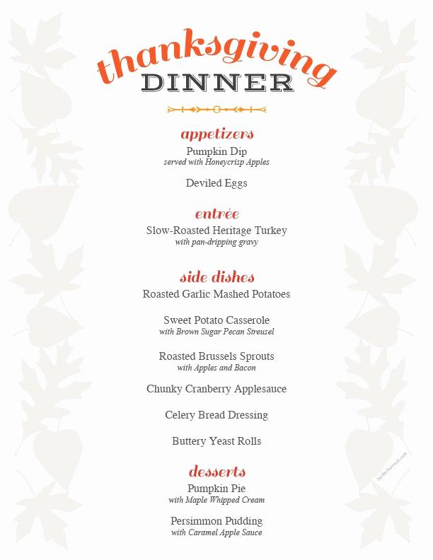 Thanksgiving Day Menu Template Lovely Thanksgiving Menu Printable Holiday Recipe Roundup