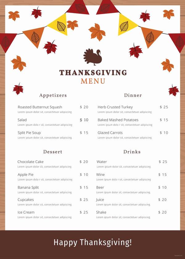 Thanksgiving Day Menu Template Luxury 25 Thanksgiving Menu Templates Free Sample Example