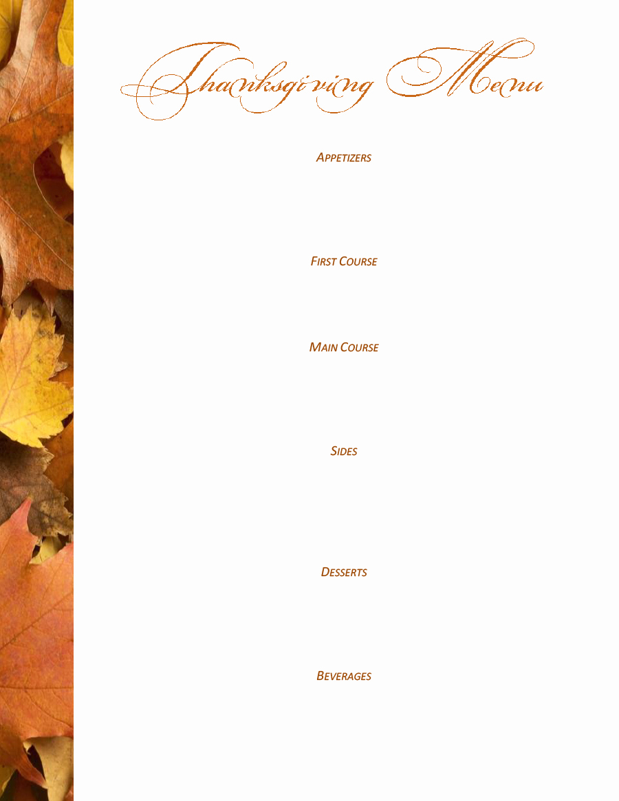 Thanksgiving Day Menu Template New 35 Awesome Thanksgiving Menu Templates Template Lab