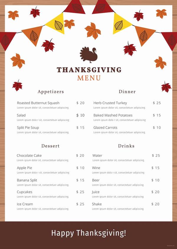 Thanksgiving Day Menu Template Unique 47 Menu Card Templates Ai Psd Docs Pages