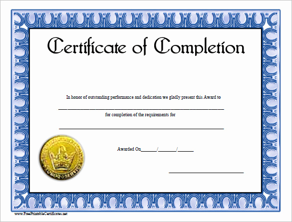 Training Certificate Template Doc Awesome Course Pletion Blank Excellence Certificate Pletion
