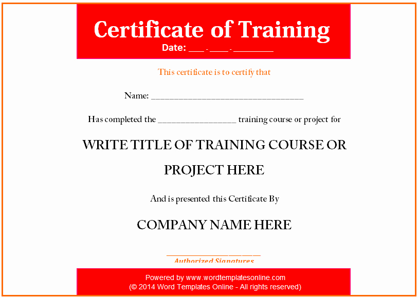 Training Certificate Template Doc Beautiful Certificate Of Pletion