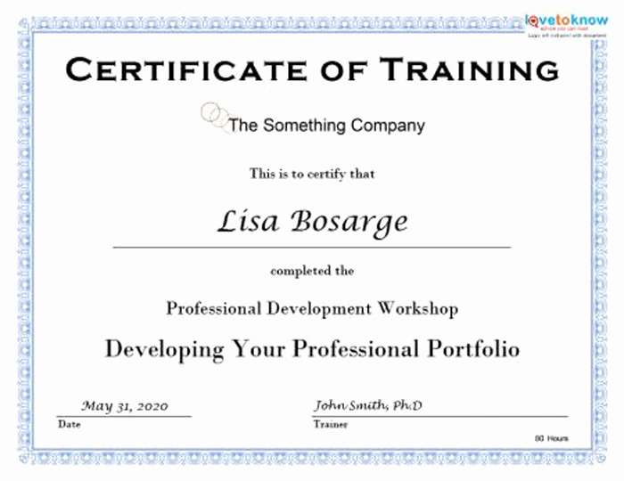 Training Certificate Template Doc New Certificate Of Training Template 15 Training Certificate