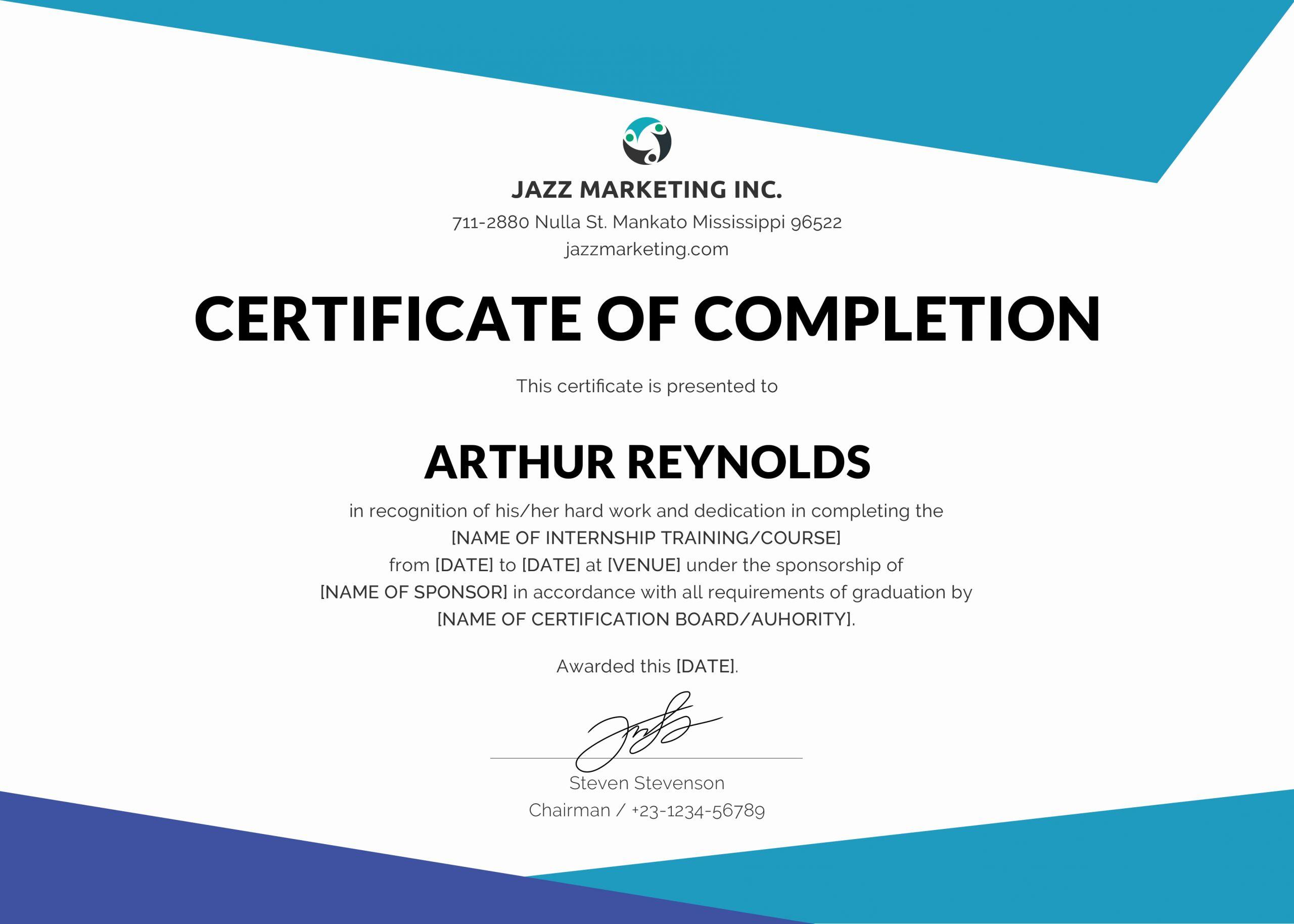 Training Certificate Template Doc Unique Printable Doc File Course Pletion Certificate Template