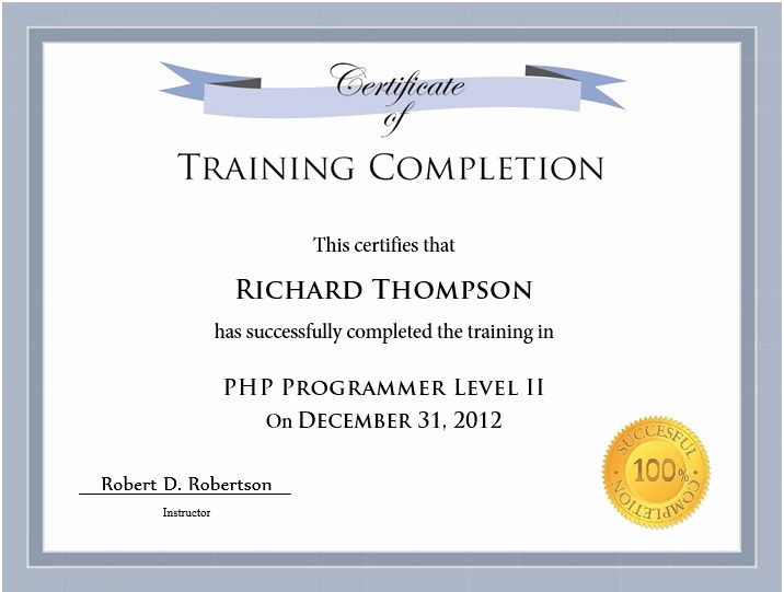 Training Certificate Template Doc Unique Training Certificate Template